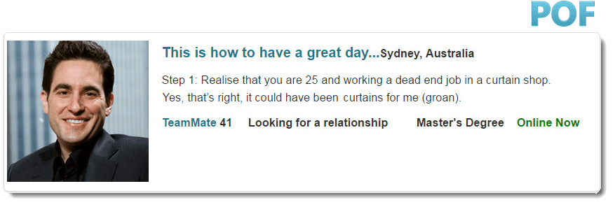 example of good online dating profile Giving advice on writing a better first message in online dating is good, but i think examples make it better for example, in the profile 3.